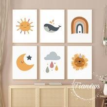 Cartoon Moon Rainbow And Prints Sun Stars Poster Canvas Prints Children's Room Wall Art Decoration Pictures Children's Room Art