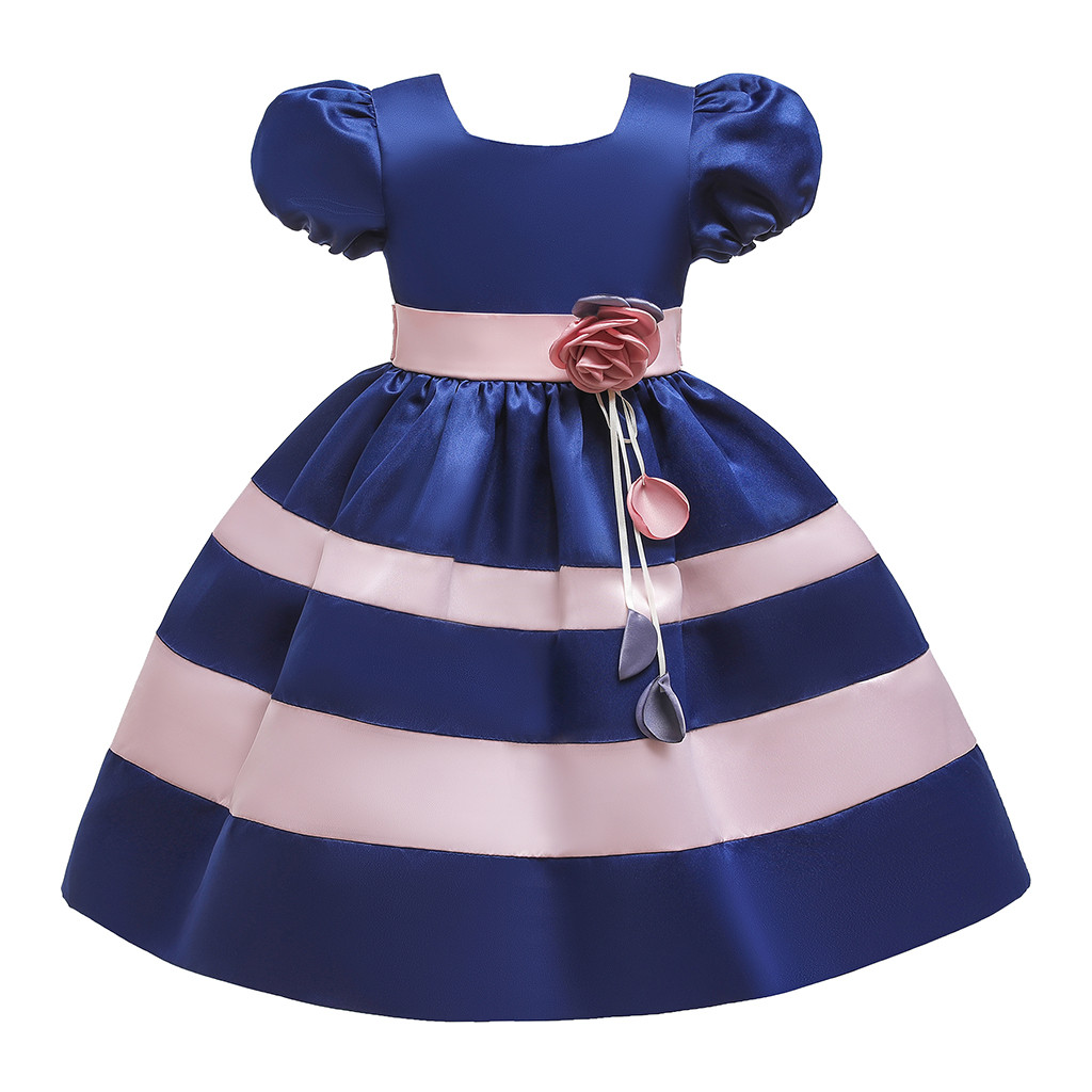 Baby Girls Dress Clothes,Summer Infant Baby Girls Fly Sleeve Solid Bow Dress Clothes Dresses Bridesmaid Pageant Gown Birthday Party Wedding Dress Princess Dress Kids Dress Childrens Clothes