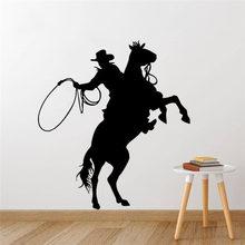 Autocollants muraux en vinyle pour Cowboy, étiquette amovible, pour équitation, Art, affiche murale en vinyle, Poter 3418