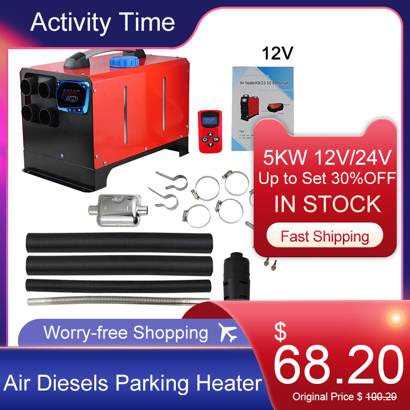 Heating for Motor 12V 24V Air Diesels Parking Heater 5KW LCD Screen Switch Car Heater For RV Motorhome Trailer Trucks Boats Hot|Heating & Fans| - AliExpress