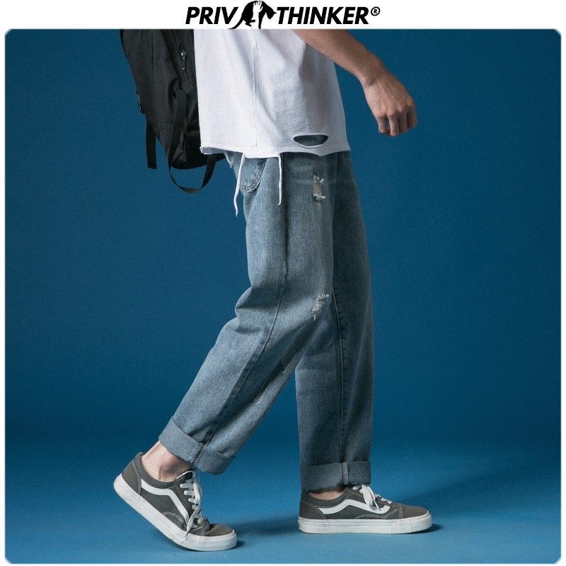 Privathinker Korean Men's Straight Jeans 2020 Man Casual Harem Pants Vintage Hole Men Denim Pants  Black Blue Trousers