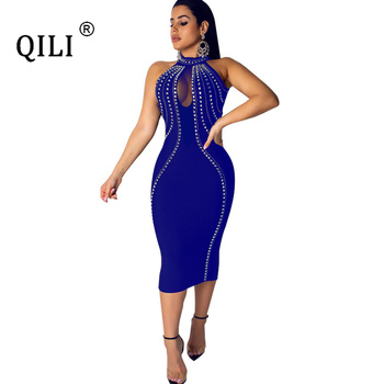 QILI Women Sexy Party Dress Sleeveless Backless Diamonds Rhinestone Dresses Black See Through Mesh Bodycon Dress Femme S-5XL 2