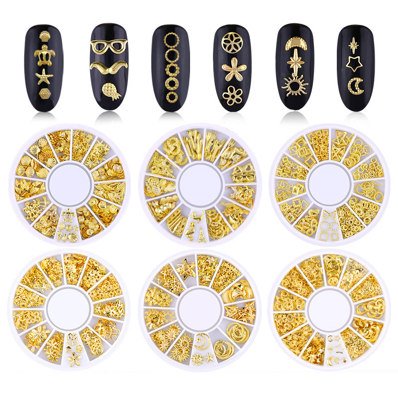 1 Box Gold Plated 3D Nail Jewelry For DIY Nails Art Design Metal Punk Rivet Moon Stars Hollow Geometric Nail Studs Accessories