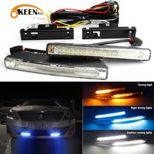 2Pcs 7 pollici universale auto LED impermeabile DRL luce di marcia diurna fendinebbia bianco indicatore di direzione ambra notte guida blu