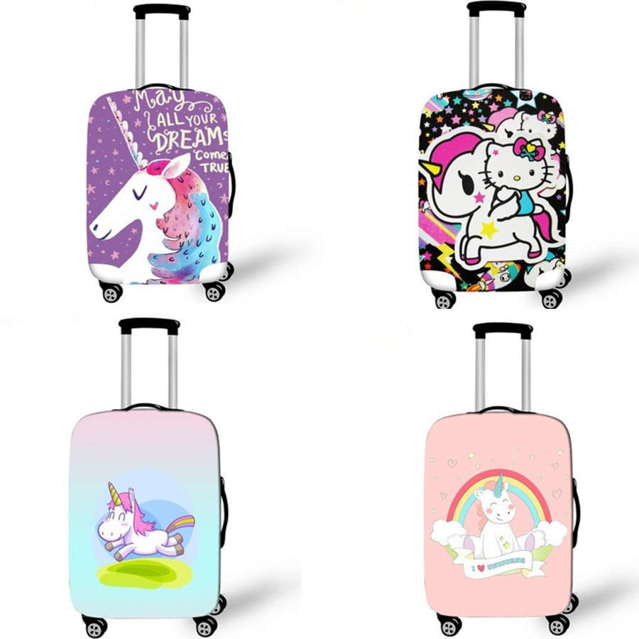 18-32 Inch Cartoon Rainbow Unicorn Elastic Suitcase Protective Covers Luggage Cover Travel Bag Cover Travel Accessories