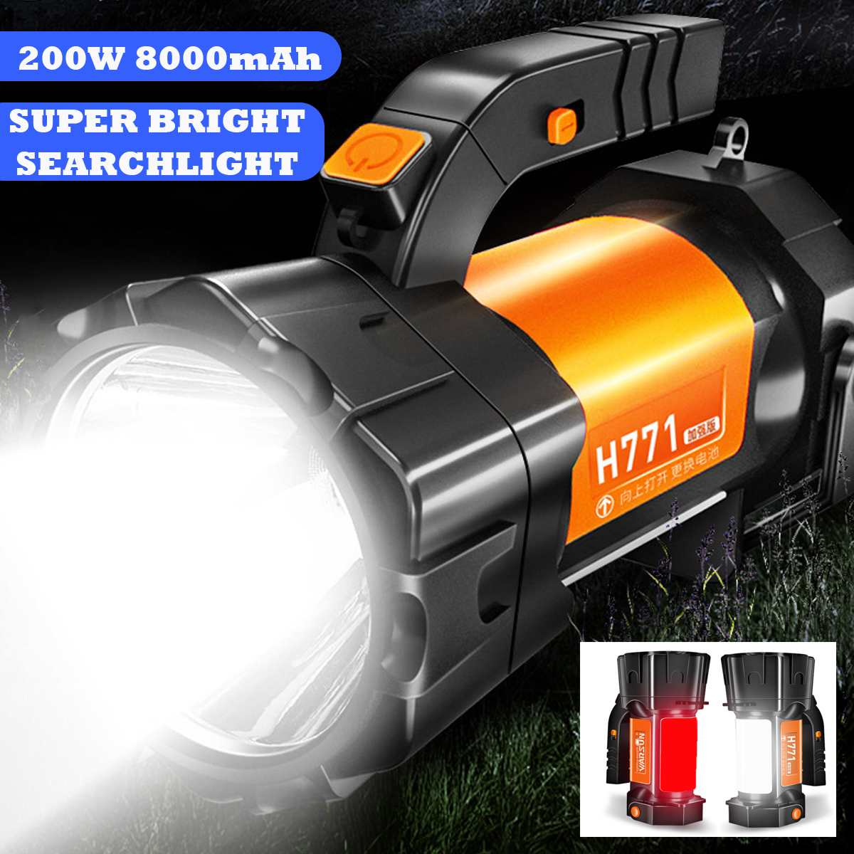200W Bright Powerful LED Searchlight Handheld Flashlight Power Bank Rechargeable Battery Waterproof Torch For Outdoor