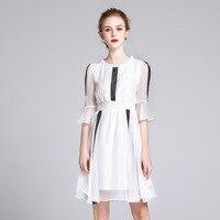 Summer Dress Silk Women White Sweet Ruffles Lace Patchwork O Neck Knee Length Silk Dress vestido