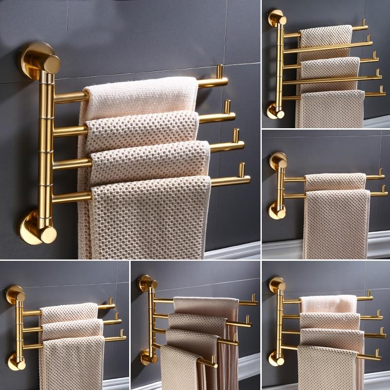 European Golden Aluminum Alloy Rotating Towel Rack Bathroom Rail Hanger Brass Towel Holder Swivel Bars 35cm L Wall Mounted B587