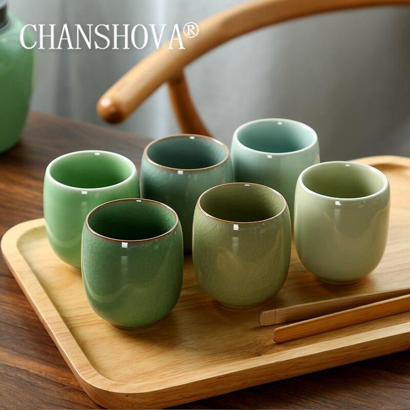 CHANSHOVA 150ml Traditional Chinese Style Celadon Crackle Ceramic Teacup China Porcelain Small Coffee tea set H284