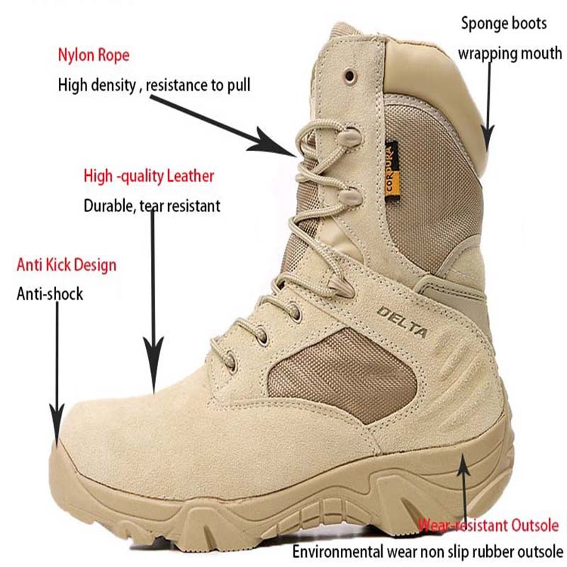 Fashion Outdoor Protective Army Boots Men High Top Male Ankle Shoes Retro Sewing Combat Military Boots Plus Size 57 Ayakkabi