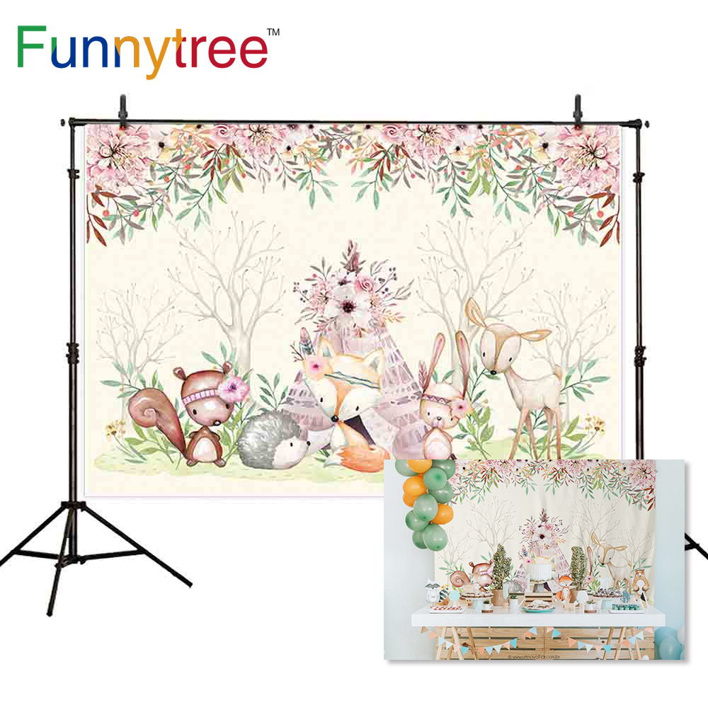 Funnytree backgrounds for photography studio woodland wild one animal Indian fox flowers tent baby backdrop photobooth photocall