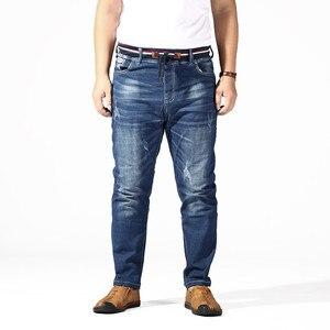 Image 2 - Dżinsy w dużym rozmiarze mężczyźni 6XL 7XL 8XL 180KG ubrania spodnie Homme Stretch proste luźne spodnie Denim niebieski Plus Jean marki zgrywanie spodnie