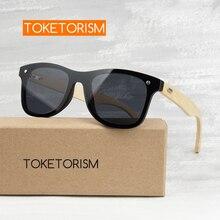 Toketorism womens fashionable bamboo sunglasses vintage UV400 mirror men 713