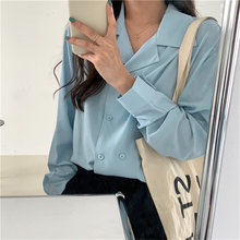HziriP New 2020 High Quality OL Brief V-Neck Slim Women Long Sleeve Korean Minimalist Solid Loose Fr