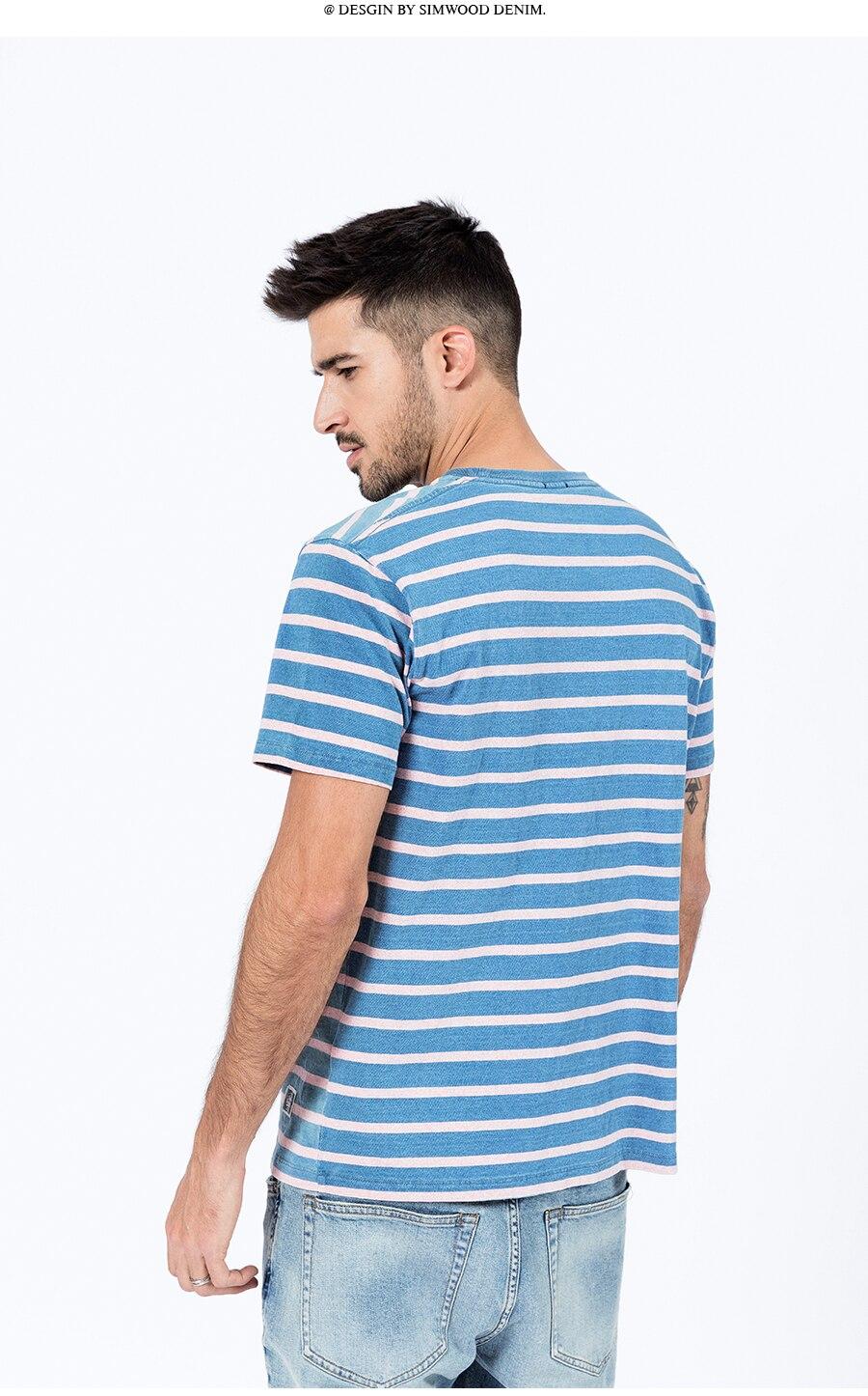 Simwood 2020 verão novo indigo lavados t-shirts