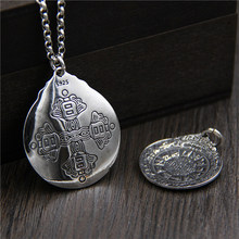 Silver 925 Jewelry Retro Thai Nine Palace Gossip Pendant Necklace For Men And Women Sterling
