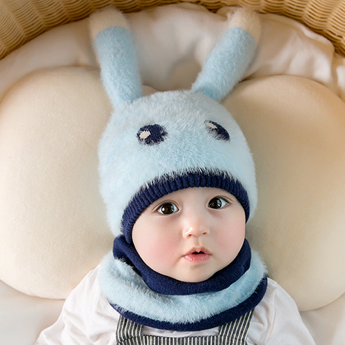 Baby Fluffy Hat Cartoon Ear Cap Neck Winter Warm  Two Piece Cute Soft  Hat And Scarf Sets For Kids