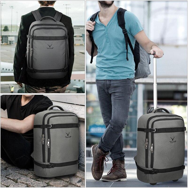 Hynes Eagle Brand Designer Waterproof Backpack Rolling Wheeled Backbag 42L Flight Approved Carry On Luggage Travel Backpack
