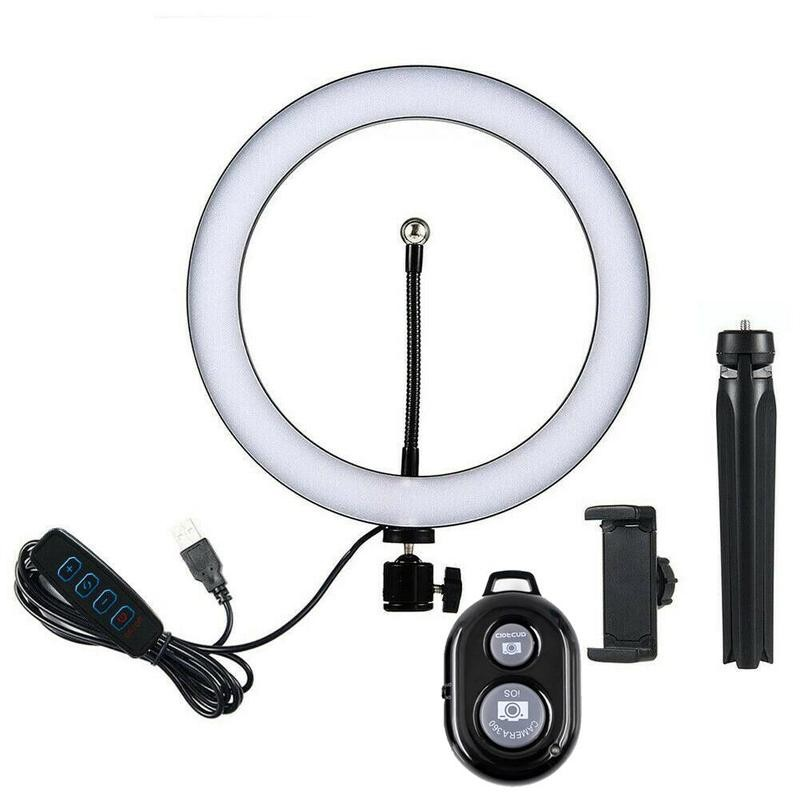 10 Inch LED Dimmable Makeup Ring Light for Live Streaming   YouTube Video - Desktop Selfie Lamp with Tripod   Cell Phone Holder