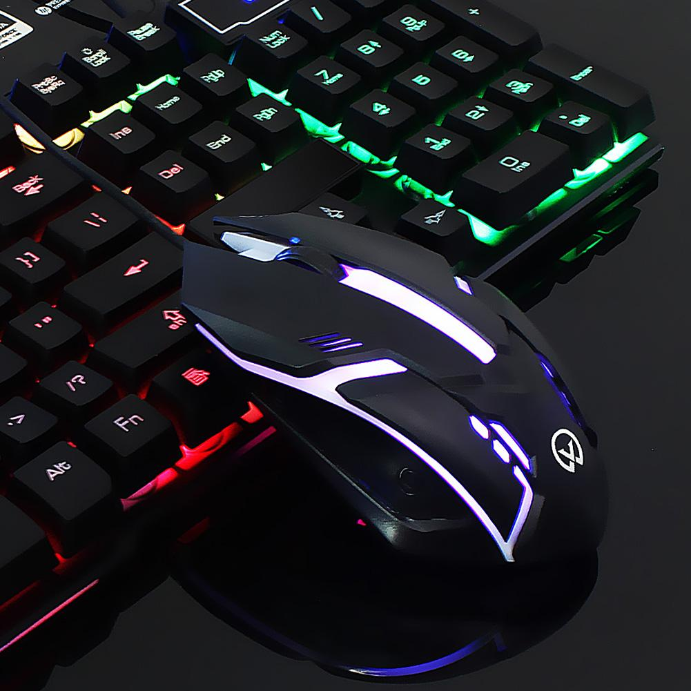 Colorful Backlight 2400DPI Gaming Mouse Ergonomic Wearable With Four - Button Computer Mouse Keyboard Combo Wired USB Mouse