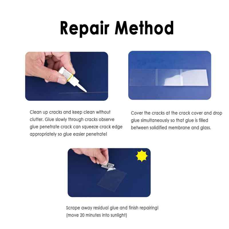Szklany zestaw naprawczy szyby do naprawy szyb samochodowych pęknięcia okno samochodu środek do czyszczenia szkła urządzenie do usuwania zadrapań z samochodu akcesoria samochodowe Dropship TSLM1
