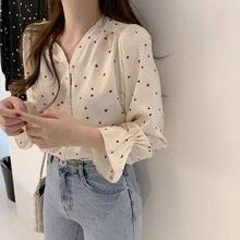 Spring Women Chiffon Shirt Korean Fashion Long Sleeve White Shirts Women Streetwear Office Blouse Elegant Lady Heart Print Tops