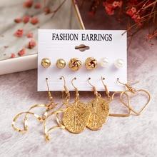 6PCS/Set Geometric Metal Stud Earrings For Women Simple Heart-shape Gold Leaf Earring Set 2019 New Fashion Female Jewelry