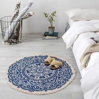 Bohemian Mandala Round Carpet Living Room Bedroom Cotton Line Round Rug Carpet 90x90cm Area Rug Retro Floor Carpet