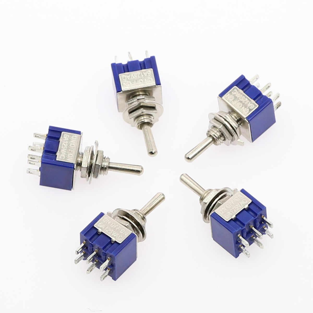 5 Buah Miniatur Toggle Switch Single Double Throw-OFF-On/ON-On 120VAC 6A 1/4 Inci Pemasangan MTS-102 103 202 203