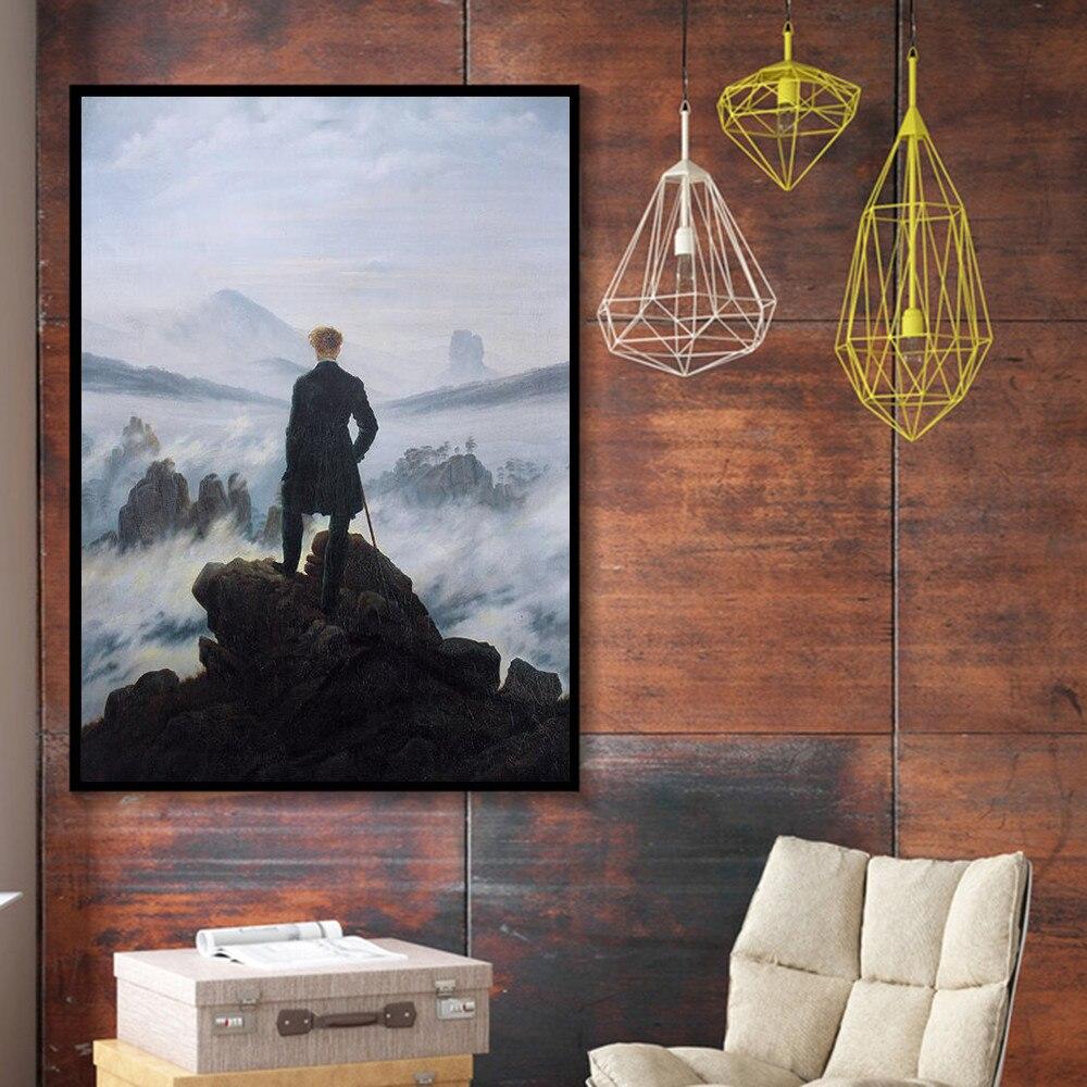 Ünlü tuval resimlerinde reprodüksiyon Wanderer üzerinde deniz sis sanatsal tuval posterler ve baskılar, oturma odası duvar resimleri