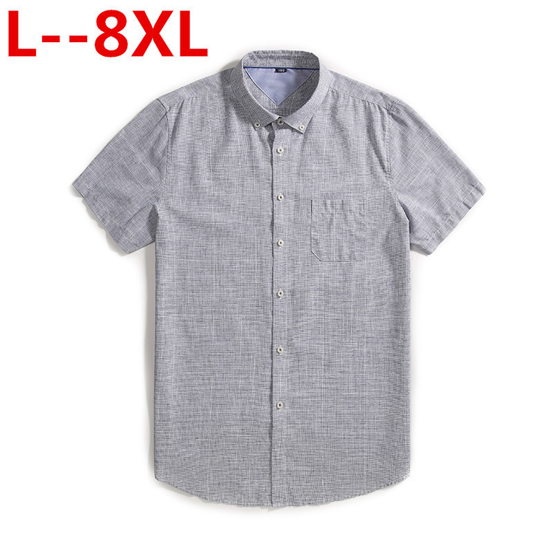 Plus Size 8XL 6XL 5XL High Quality Casual Oxford Shirt Men Summer Solid Slim Fit Leisure Short Sleeve Shirts Men Chemise Homme