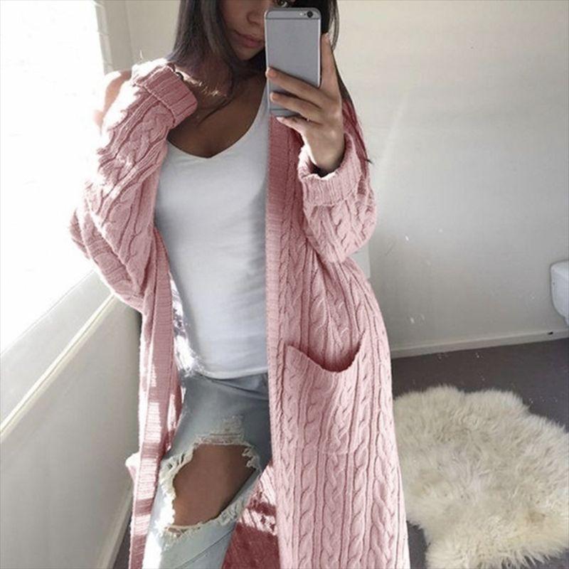 ZADORIN  Women Long Cardigan Solid Long Sleeve Jumper Sweater 2019 Autumn Winter Warm Female Knitted Korean Sweater Cute Clothes