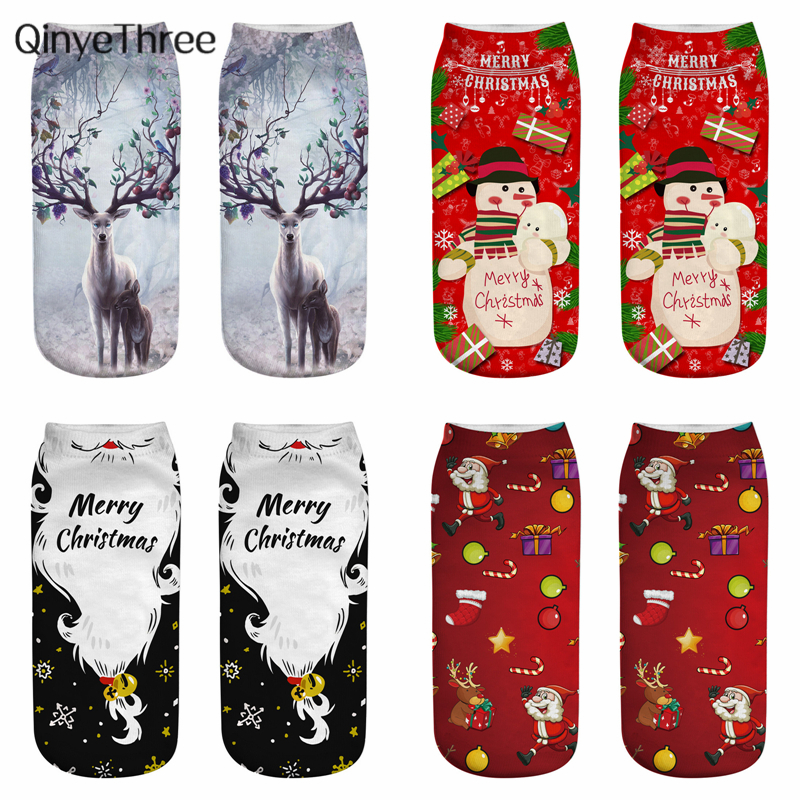 New 3D Printing Christmas Socks Funny Men Cartoon Elk Snowman Santa Sokken Low Cut Unisex Ankle Xmas Sox Calcetines Hombre