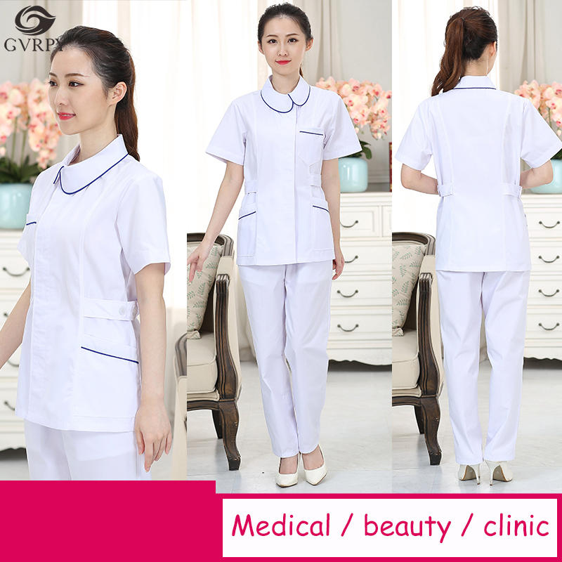 White Nurse Uniform Short Sleeve Surgery Split Suit Hospital Beauty Salon Dental Clinic Pharmacy Scrubs Medical Uniforms Women