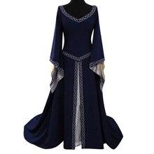 Vintage Women V Neck Medieval Floor Length Cosplay Maxi Dress Women Flare Long Sleeves Party Dress Vestidos De Fiesta De Noche