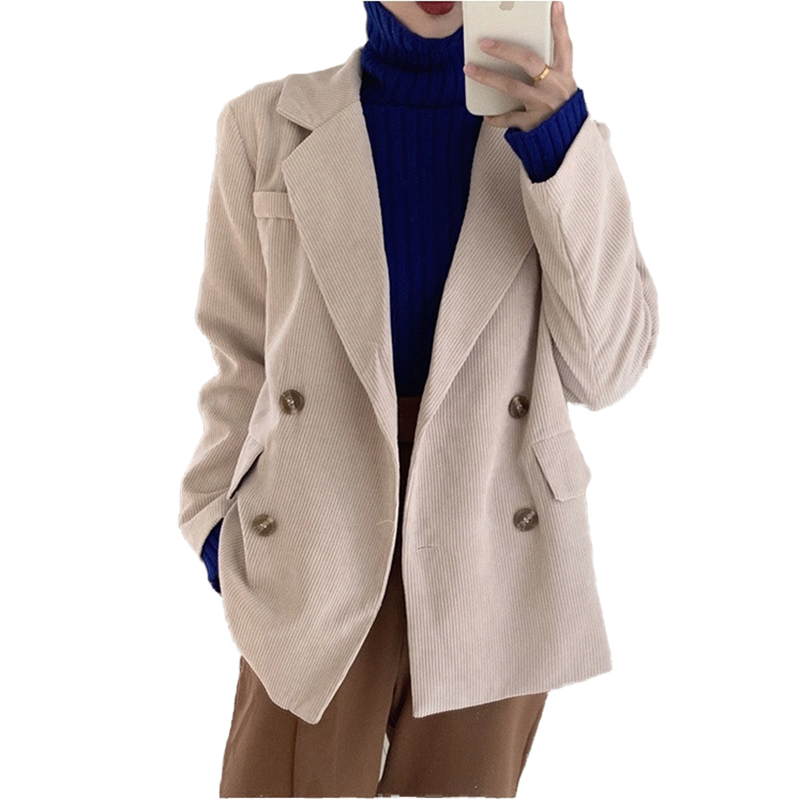 Double Breasted Office Ladies Corduroy Blazer Long Sleeve Loose Suit Coat Jacket Women Casual Blazers Female Suit Autumn 3105