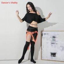 Ventre Bance costume Modal haut à manches courtes ou gland jupe pratique vêtements femme tempérament Performance exercice vêtements