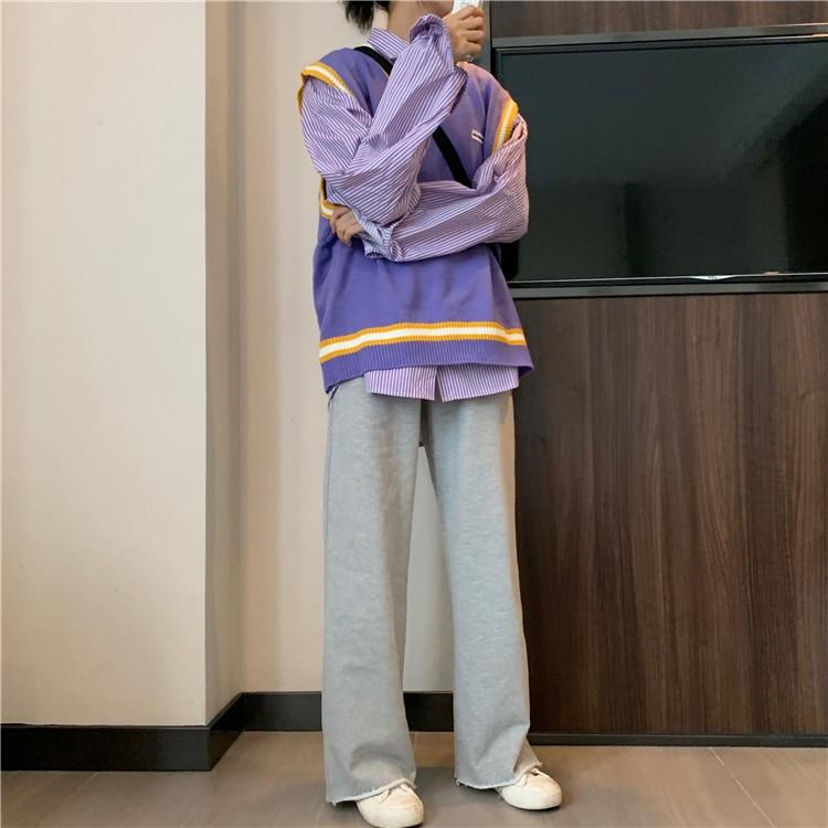 H14895899bf684c3f9352ed1290c8ef5fh - Autumn / Winter High Waist Elastic Broadcloth Straight Solid Pants