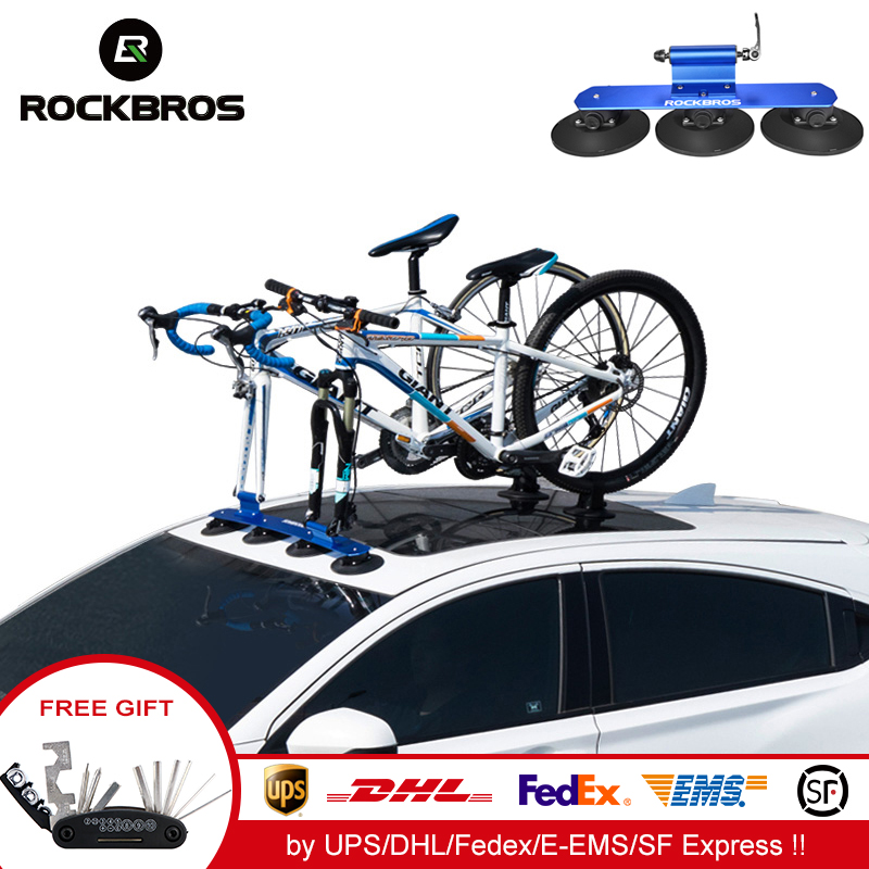 ROCKBROS Suction Cup Bike Rack Car Roof-Top Cycle Rack Carrier Car Top Bicycle Holder with Sucker Bike Carrier Red for 1 Bike