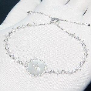 Image 3 - SLJELY Высокое качество Настоящее серебро 925 пробы звезда Искусство Круглый корпус браслет со значком микро фианит женские роскошные брендовые ювелирные изделия