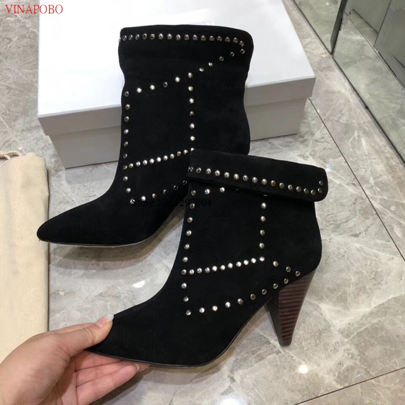 New Hot Real Suede Studded Ankle Boots