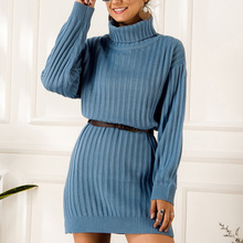 Fadzeco Elegant Knitted Dress Women Autumn Turtle Neck Female Sweater Dress Sexy Holiday Solid Ladies Winter Vestidos