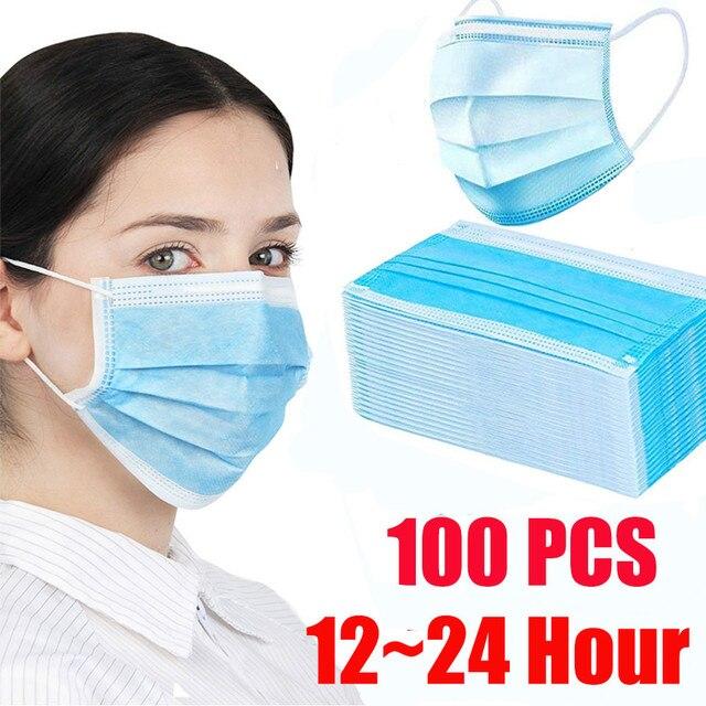 Самая низкая цена! 100 шт. маска от пыли для лица, одноразовая трехслойная Пылезащитная маска, 12 24 часа, доставка