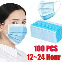 Niedrigsten Preis! 100pcs Gesicht Mund Anti staub Maske Einweg Schützen 3 Schichten Filter Staubdicht 12 24 stunden Versand Towayer