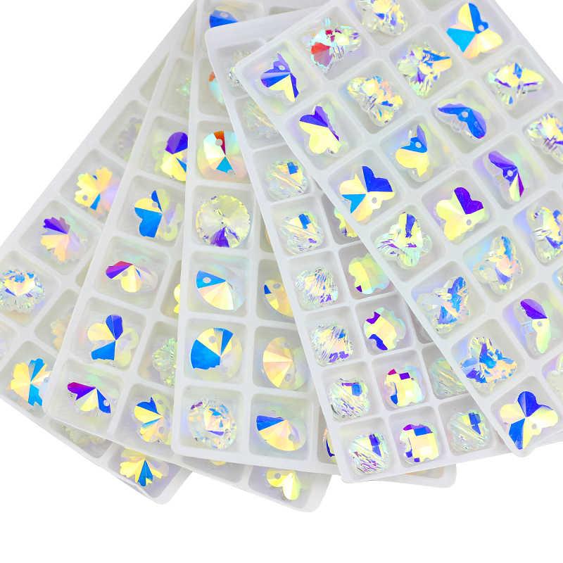 QL Kristall Rivoli Nähen Auf kristall Strass blau AB farbe blume stern drop mit löcher runde für Hochzeit kleid DIY zubehör