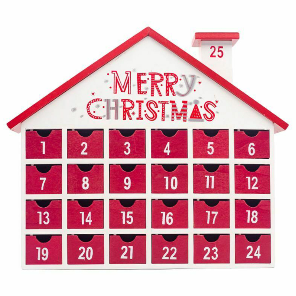 Decor Calendar Toys Table Children Countdown Ornament Candy Wooden Storage Box 24 Drawers Advent Home Christmas Gift