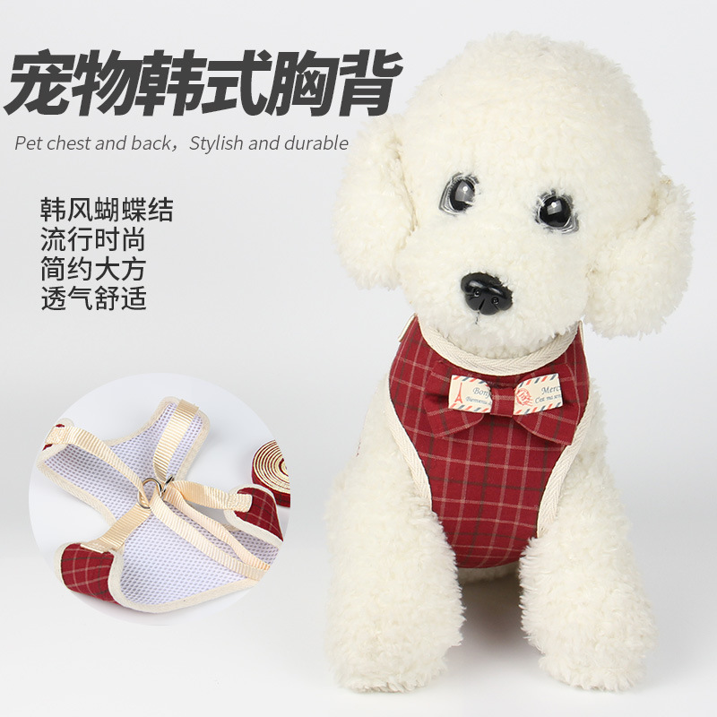 Fashion Western Style Bow Dotted Formal Dress Vest Dog Traction Rope Nursing Dog Useful Product