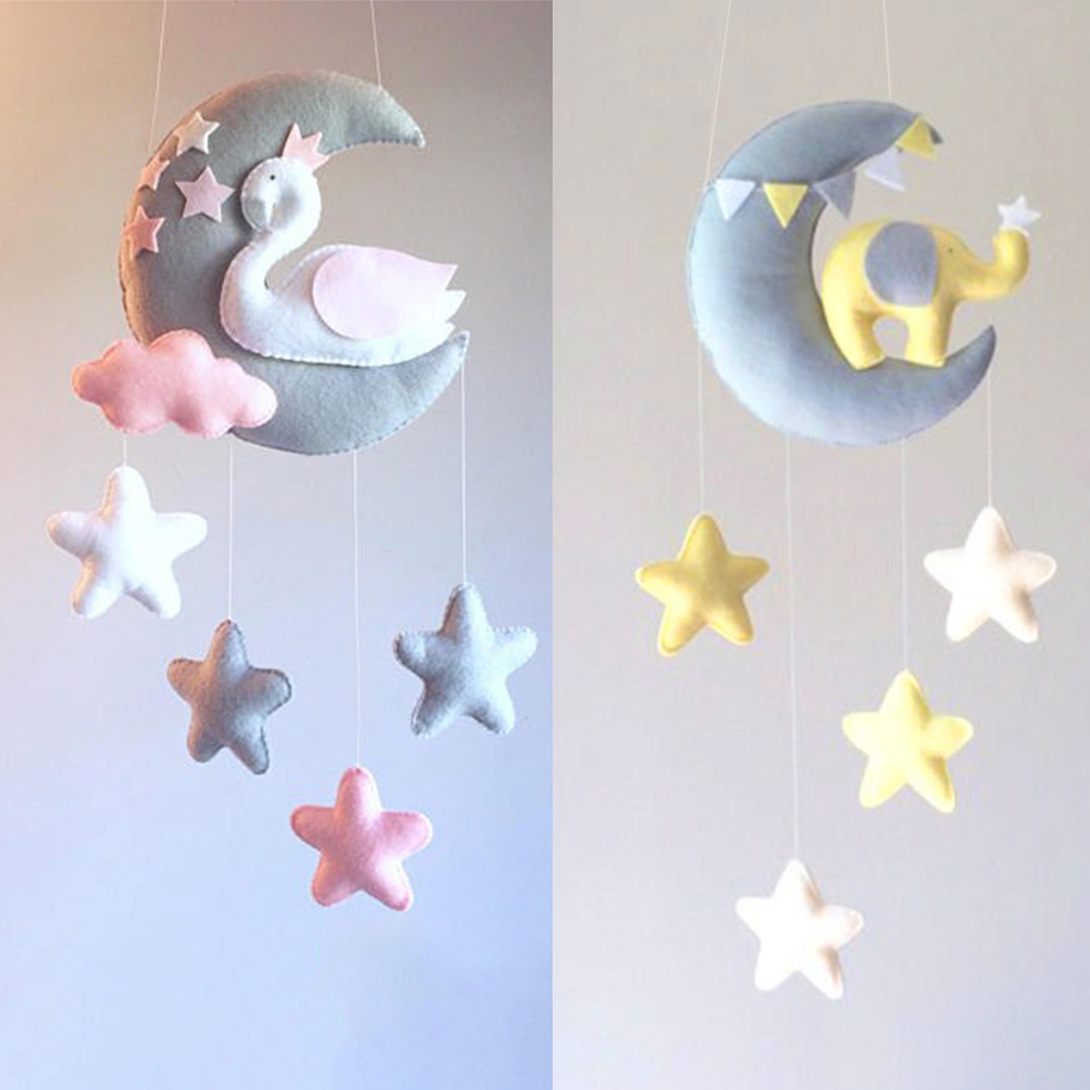 Baby Toys Moon Swan DIY Rattles Mom Handmade Bed Bell Toy Rotating Crib Mobiles For Newborns Holder Bed Wind-up Musical Box Toy