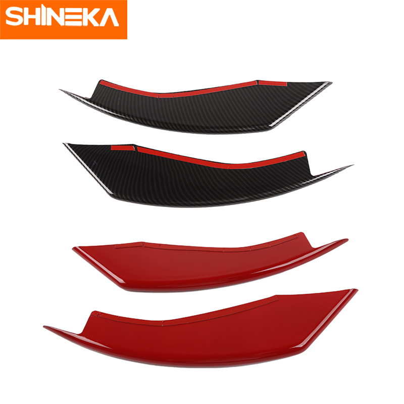 SHINEKA ABS Car Front Fog Light Eyelid Decoration Cover Trim Strips Stickers For Ford Mustang 2015-2018 Car Styling Accessories