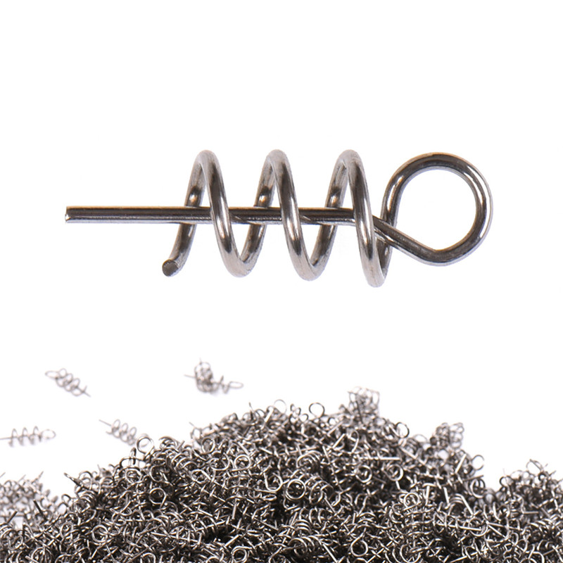 100PCS/lot Fishing Hook Soft Bait Spring Centering Pins Fixed Latch Needle Spring Twist Crank Lock For Soft Lure Latch